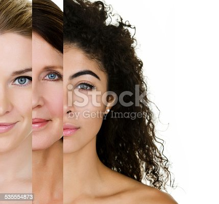 Woman of various ages and skin types. Woman to the left is young with blond hair, the center woman is in her 50s with brown hair and the woman to the right is mixed race with curly hair.