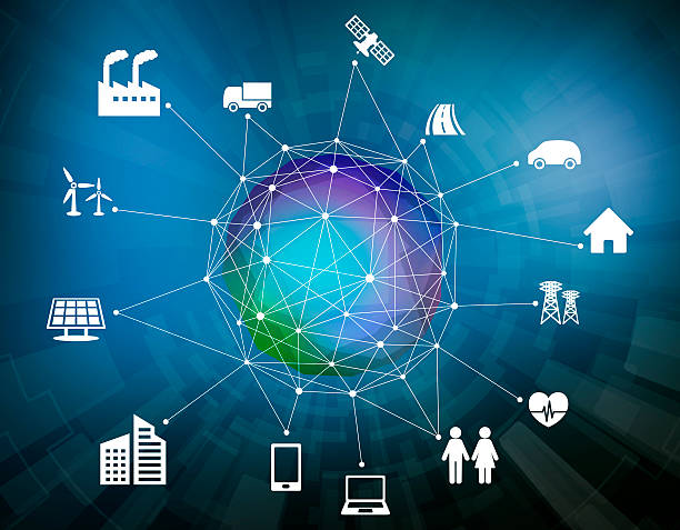 various smart devices and mesh network, internet of things stock photo
