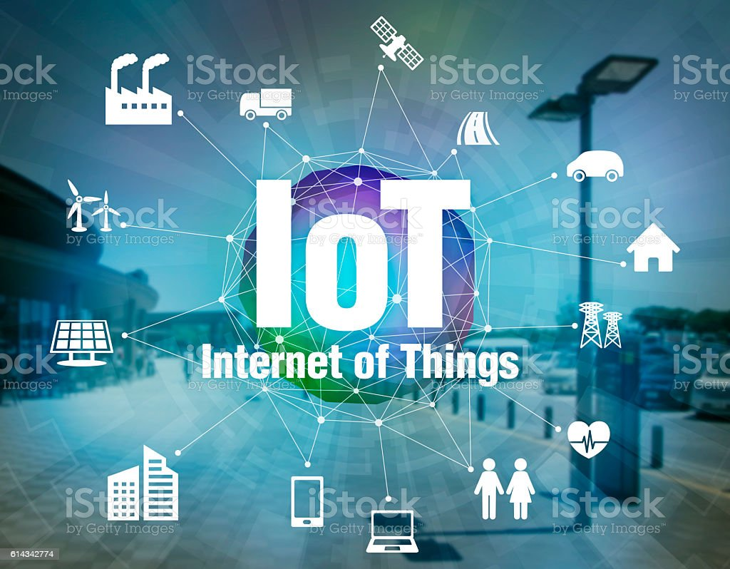 various smart devices and mesh network, internet of things bildbanksfoto
