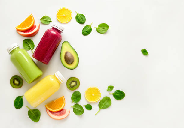 Various  smoothies in bottles stock photo