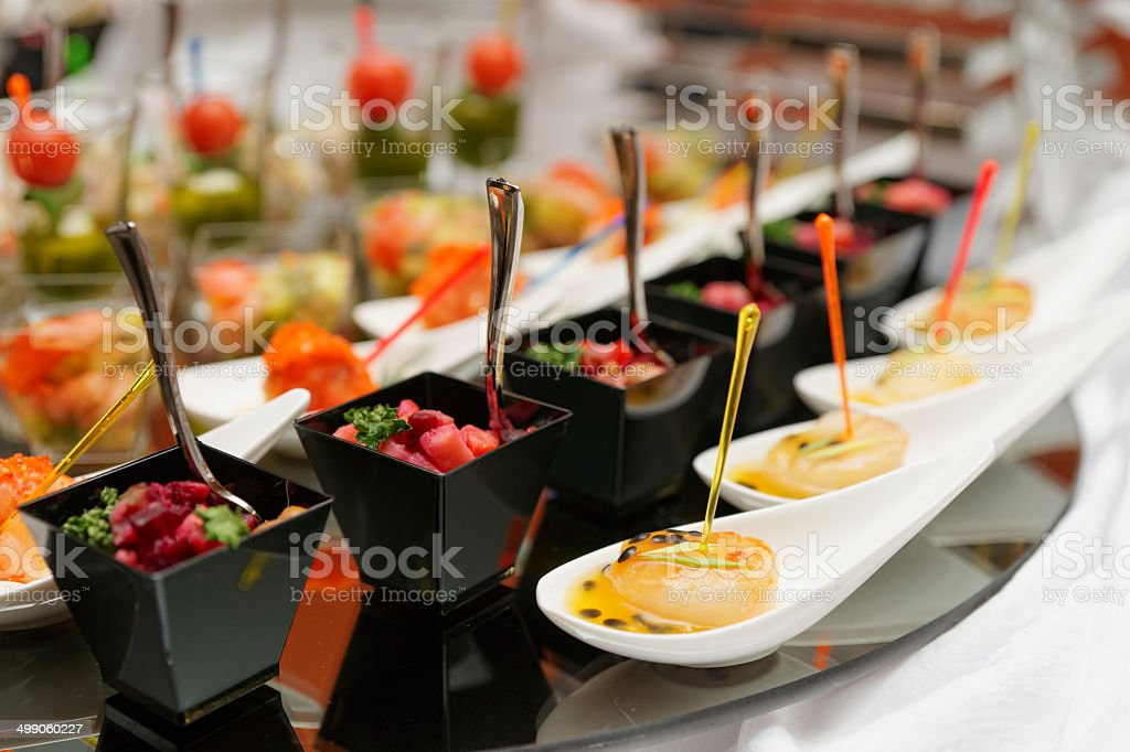 Various snacks on table stock photo
