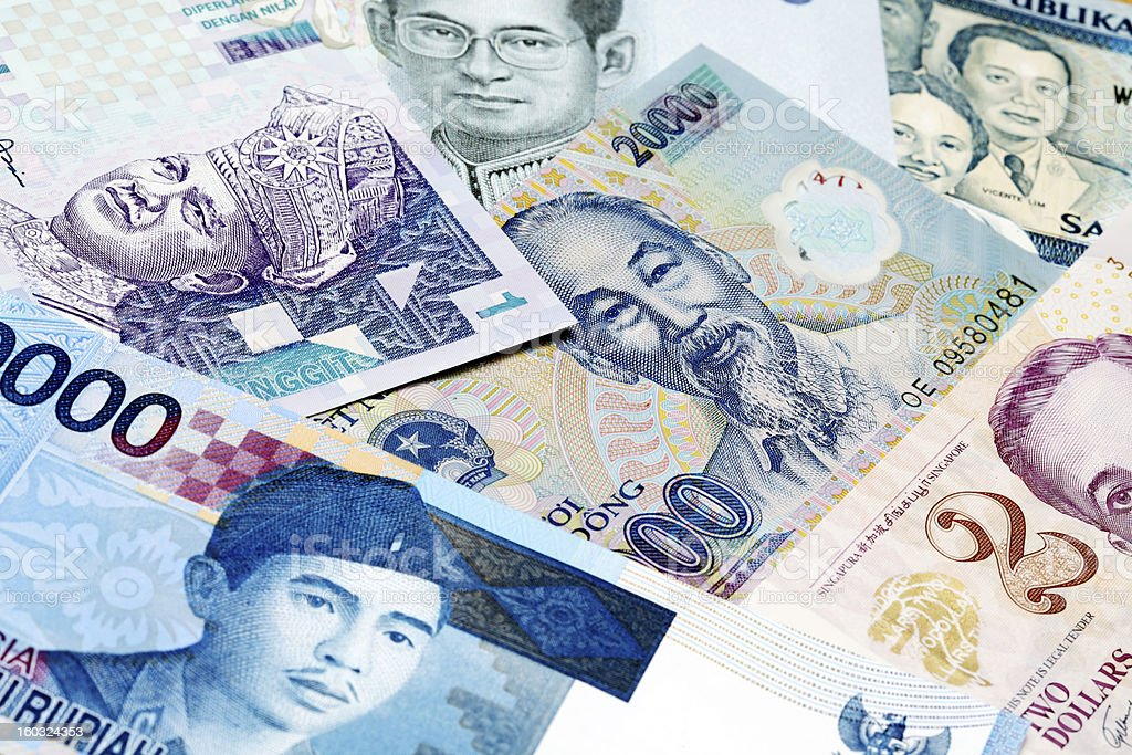 Various South-East Asian currency stock photo