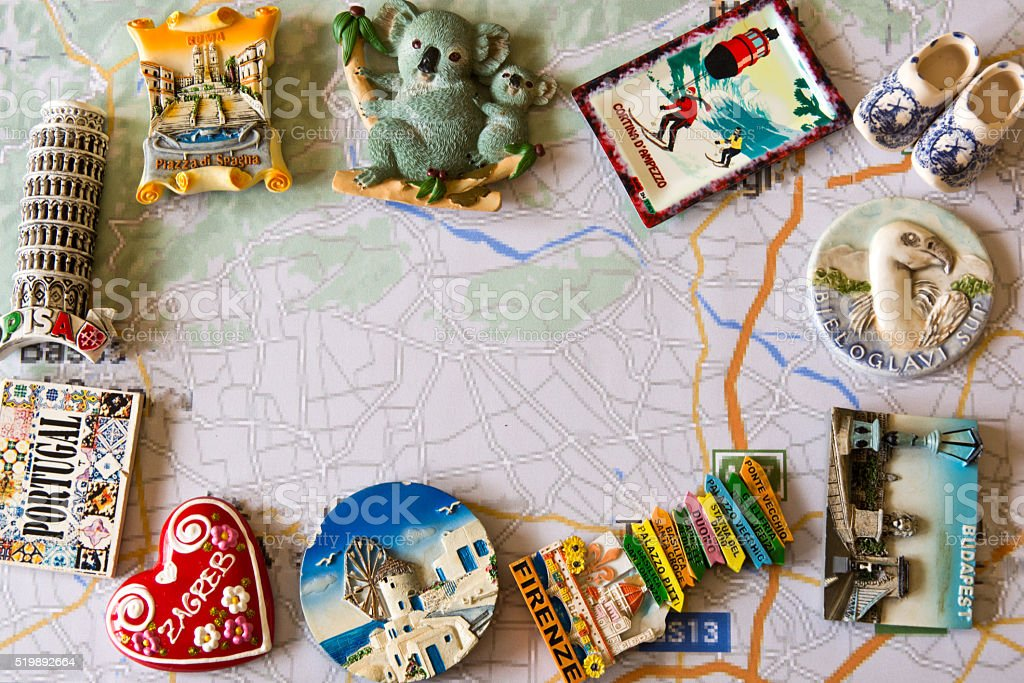 various souvenir magnets from several world country stock photo
