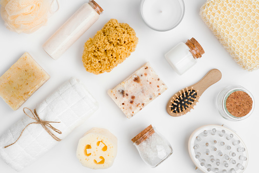 istock Various spa and beauty threatment products isolated on white background 637899066