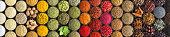 bright Indian spices and herbs in cups, top view. background for packing with condiments.