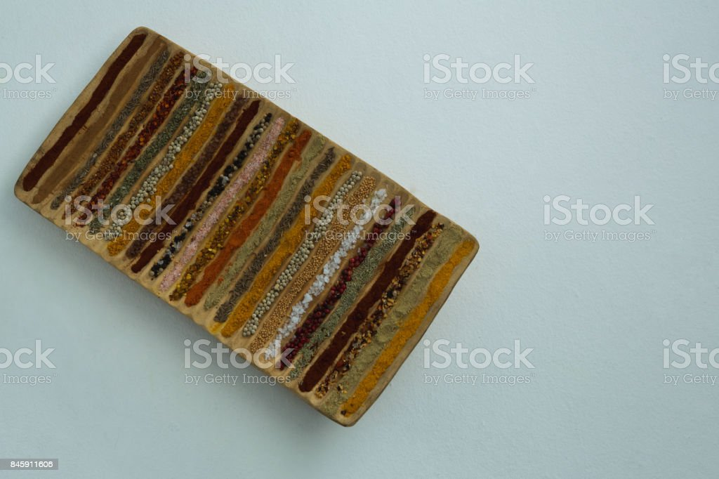 Various Spices Arranged In Tray Stock Photo - Download Image Now