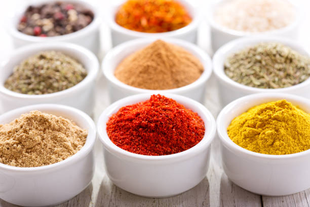 various spices for cooking stock photo