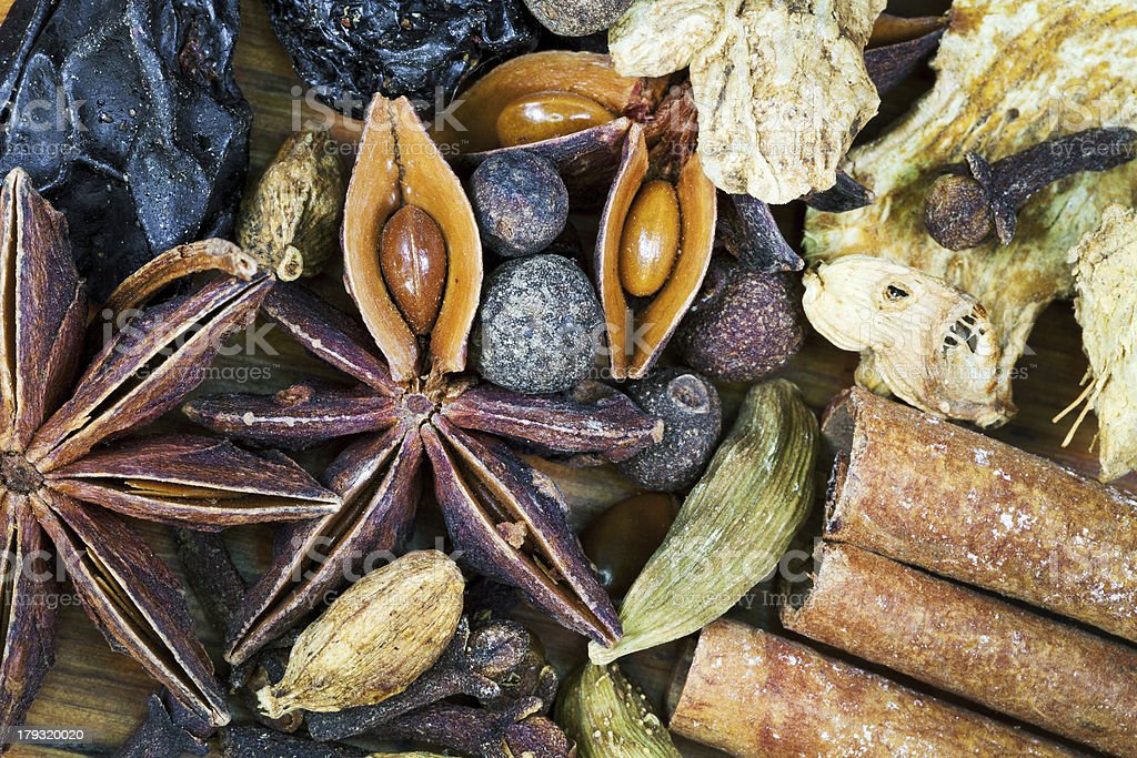 various spices for mulled wine royalty-free stock photo