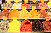 Various spices in Egyptian market, Istanbul, Turkey
