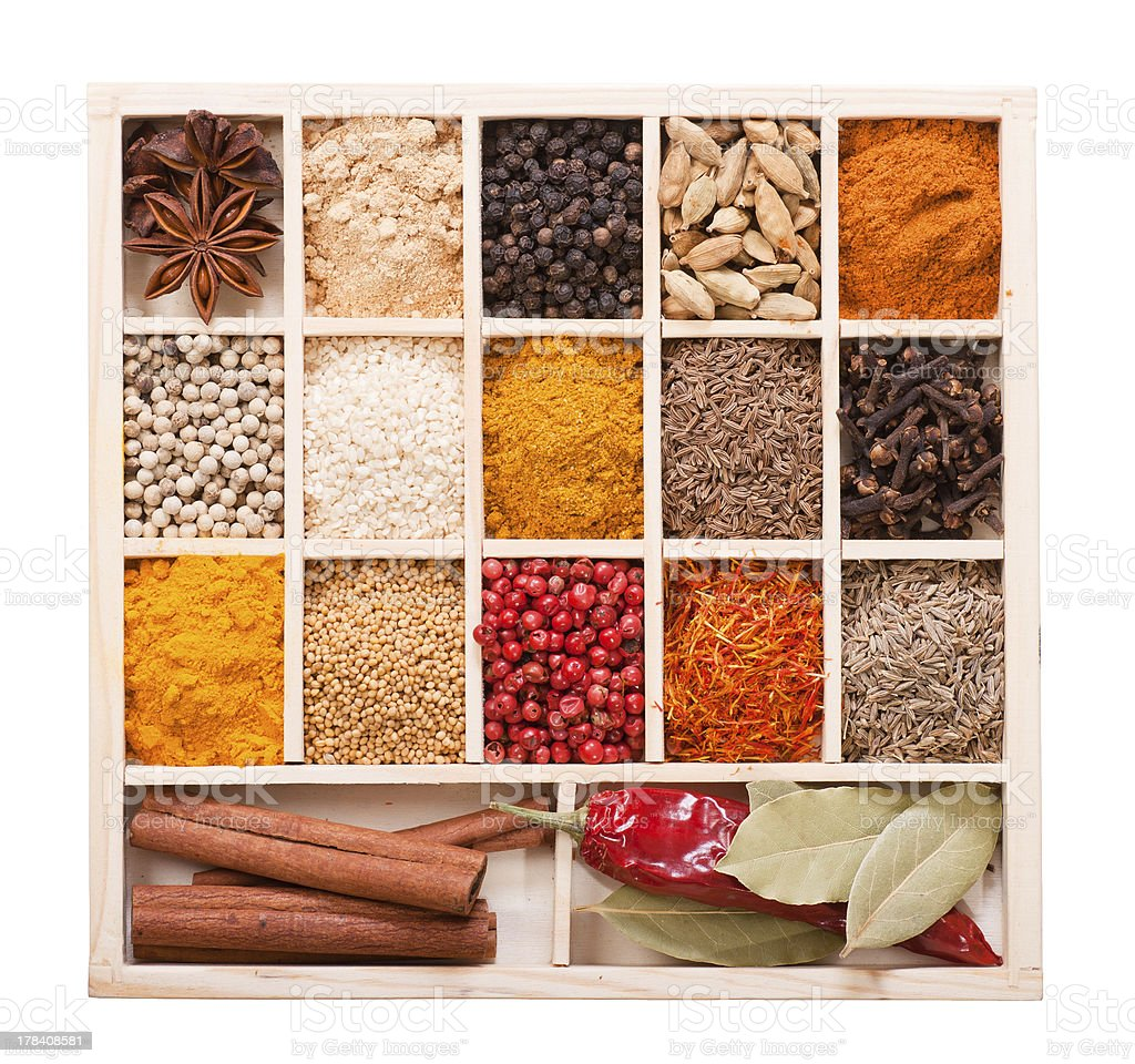Various spices in the wooden box royalty-free stock photo