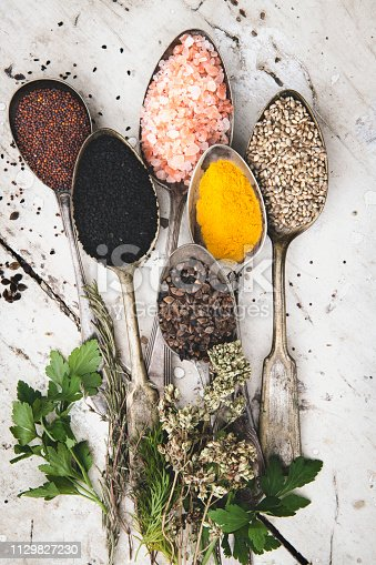 Top View of various spices on retro spoons and white table