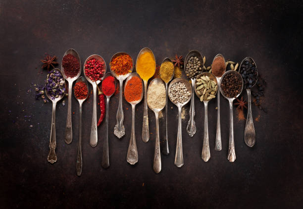 Various spices spoons stock photo