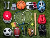 istock Various Sport Equipments On Grass 949190736