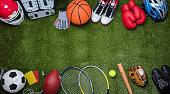 istock Various Sport Equipments On Grass 949190756