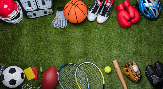 Various Sport Equipments On Grass Stock Photo - Download Image Now