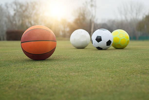 Various sports balls on grass field – Foto