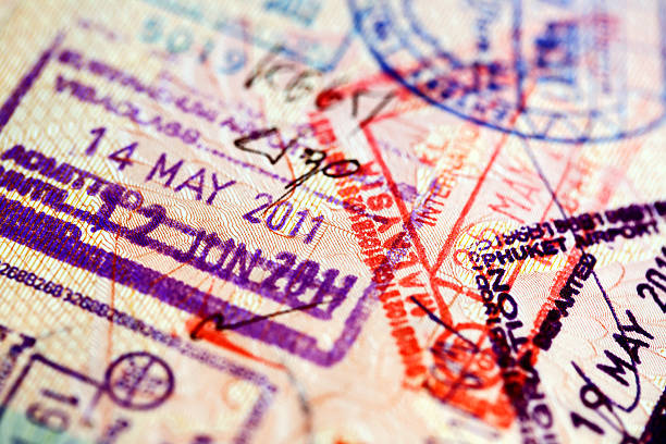 various stamps inside passport - passport stock photos and pictures