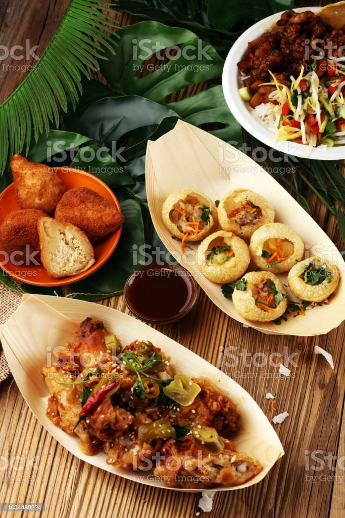 Various Street Food With Pani Puri Chicken Wings And Coxinha