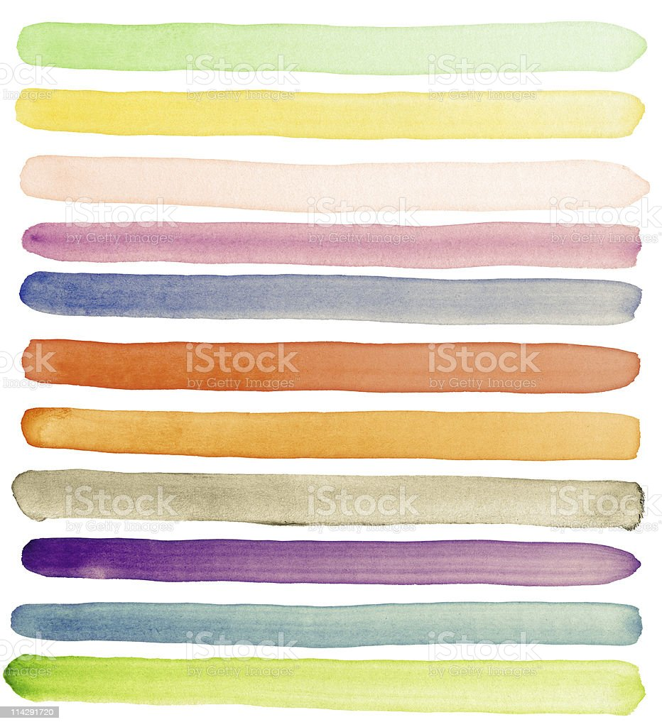 Various strokes of watercolor on paper stock photo