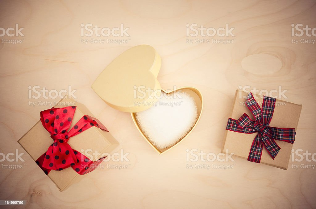 Various St.Valentine gift on wood royalty-free stock photo