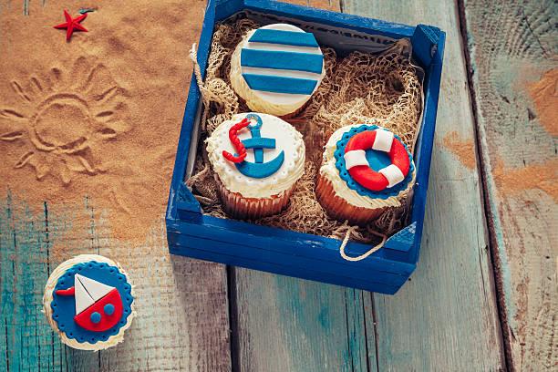various summer cupcakes - marinekuchen stock-fotos und bilder