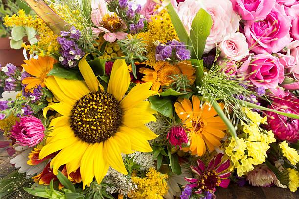 Various Summer Flowers stock photo
