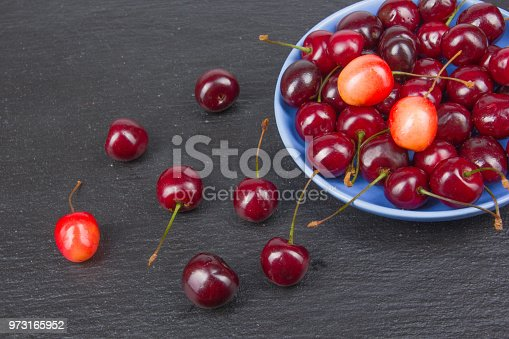 502634476istockphoto Various summer Fresh Cherry in a bowl on rustic wooden table. Antioxidants, detox diet, organic fruits. Berries 973165952