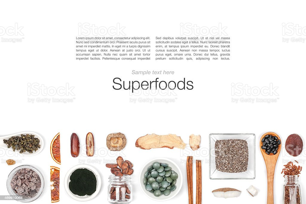 Various superfoods against white background stock photo