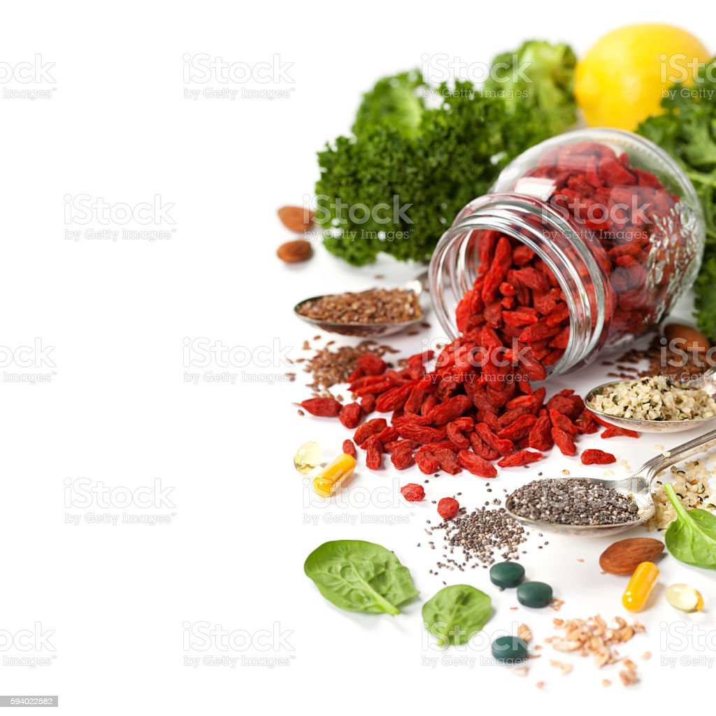 Various superfoods on white background - foto de stock