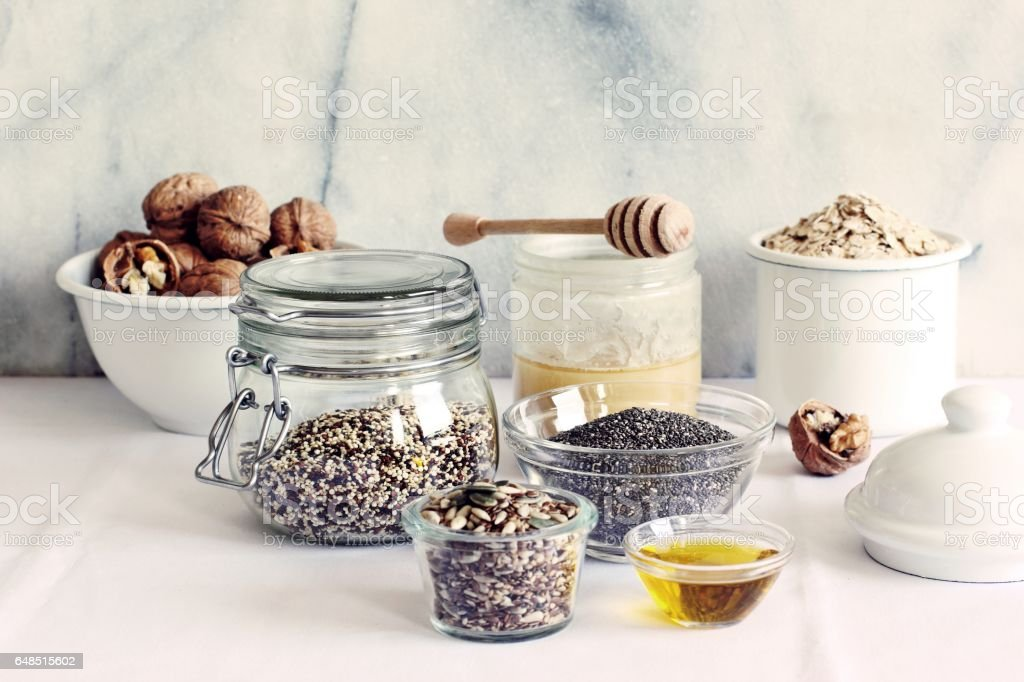 Various superfoods products for healthy eating concept.. stock photo