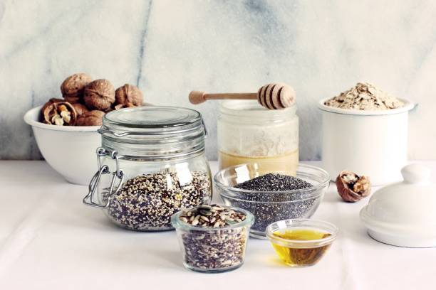 various superfoods products for healthy eating concept.. - quinoa superfood stock-fotos und bilder