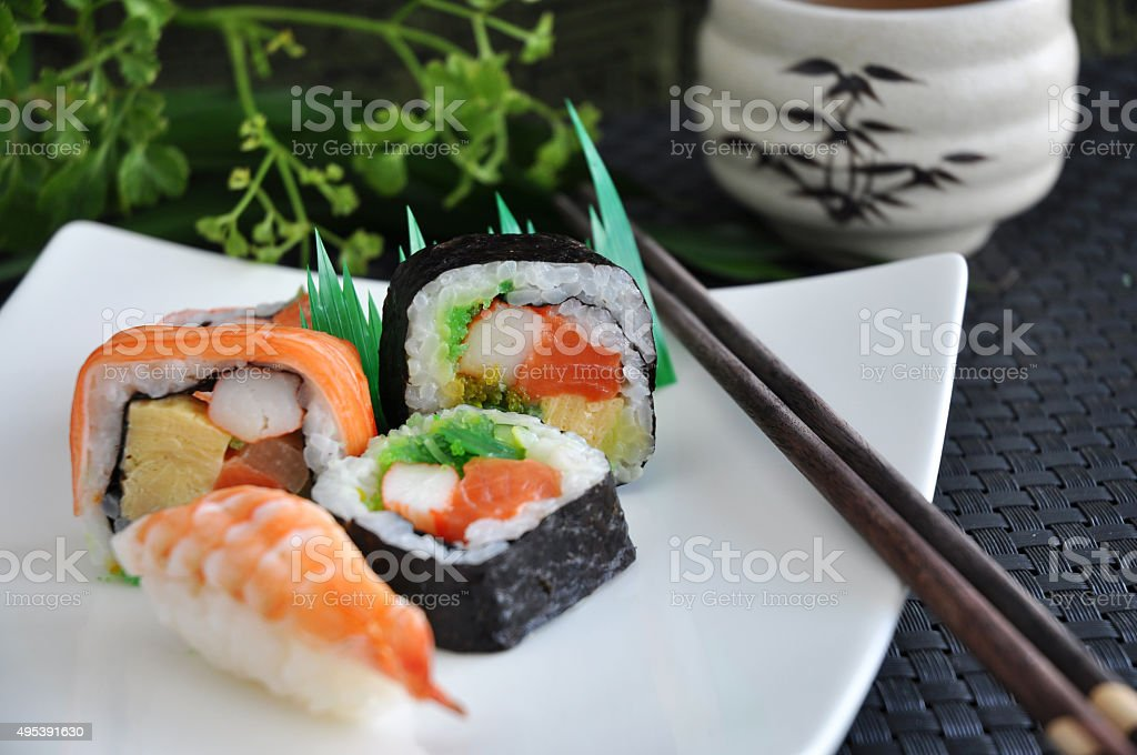 various sushi japanese food stock photo