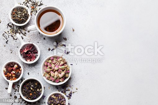 Various dry tea. Black, green and red tea. Top view with space for your text