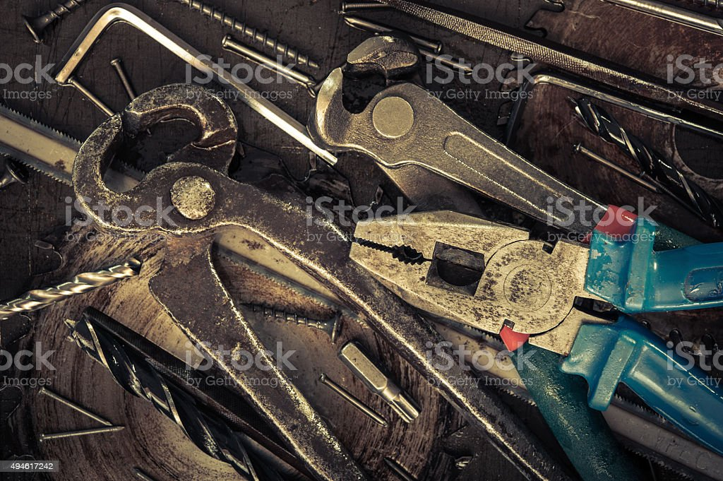Various tools and instruments. stock photo