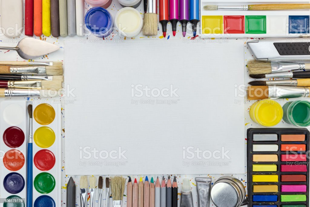 various tools for painting. frame composition with copy space. stock photo