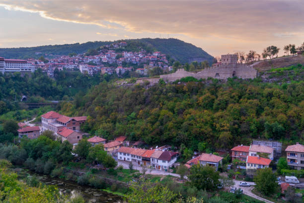 Various tourist attractions of Veliko Tarnovo, Bulgaria stock photo