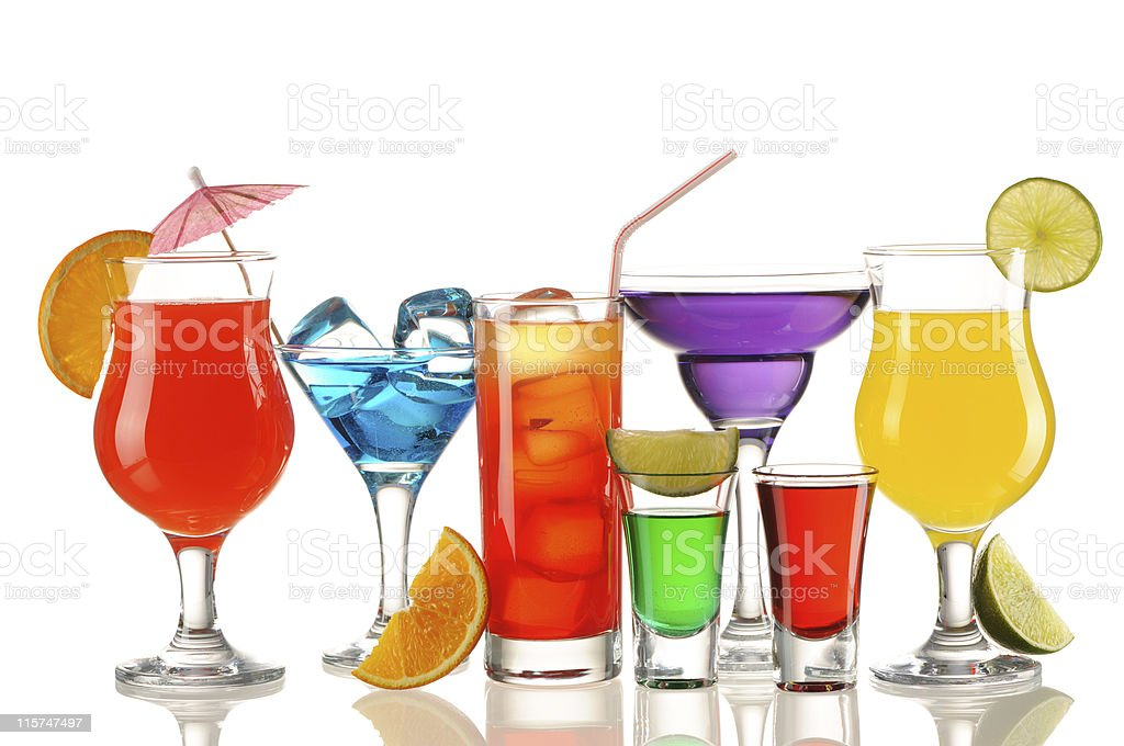 Various tropical cocktails on a white background stock photo