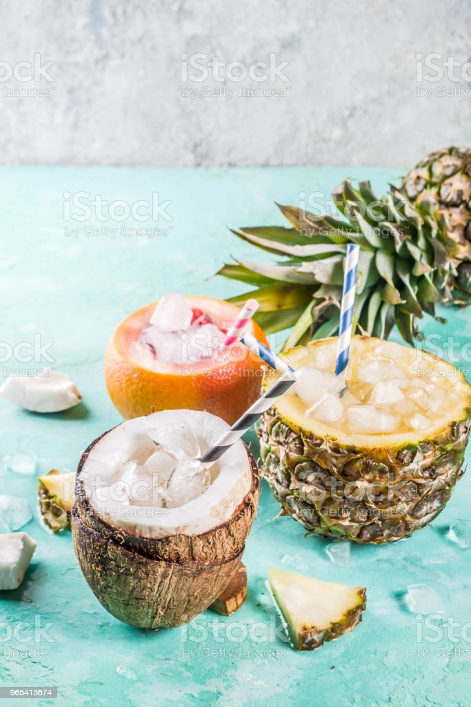 Various tropical cocktails royalty-free stock photo