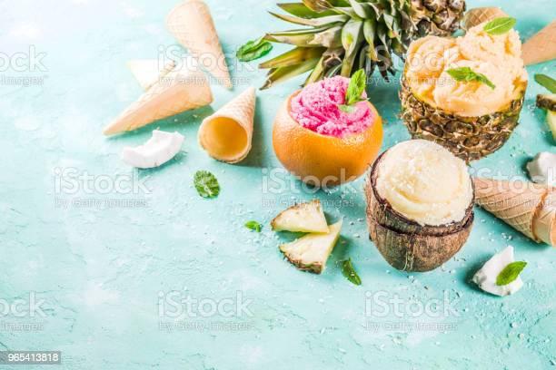 Różne Tropikalne Lody Sorbet - zdjęcia stockowe i więcej obrazów Ananas