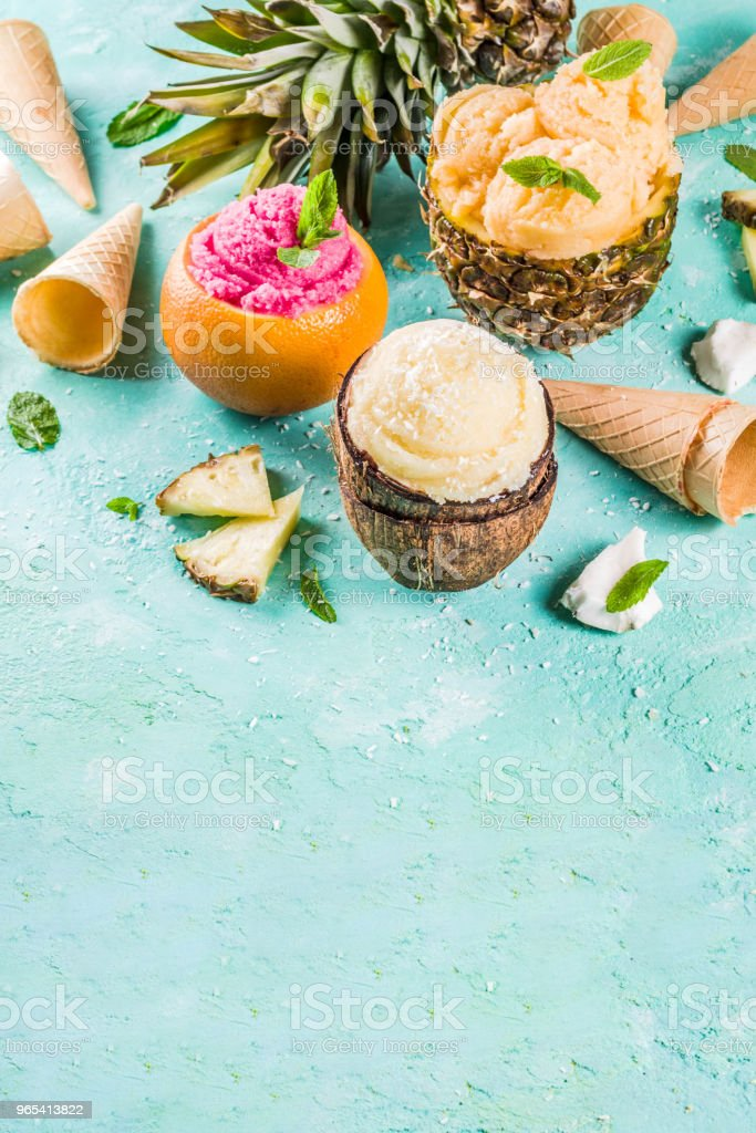 Various tropical ice cream sorbet royalty-free stock photo