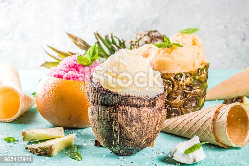 Various Tropical Ice Cream Sorbet Stock Photo & More Pictures of Ball