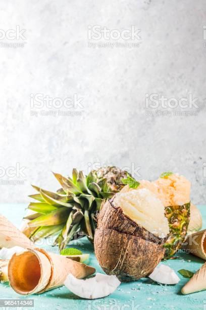Foto de Vários Sorvete Gelado Tropical e mais fotos de stock de Abacaxi