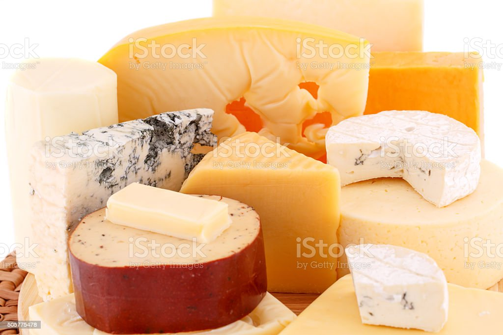 Various type of cheese stock photo