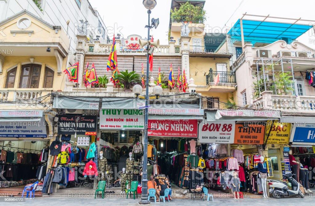 Various type of historic retail shops building in Hanoi, Vietnam....