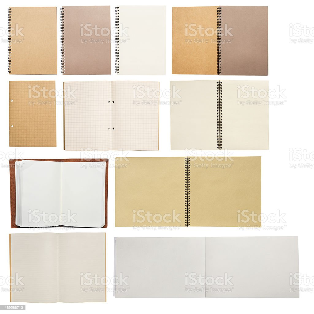 Various type of notebooks stock photo