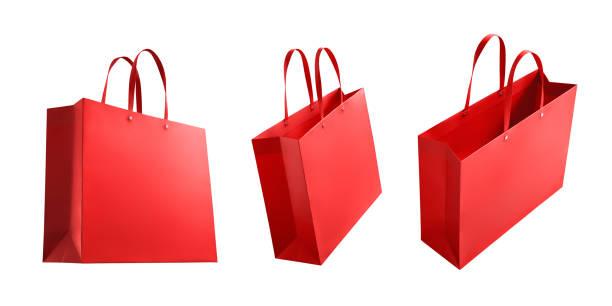 쇼핑 가방 흰색 배경에 고립의 다양 한 유형 - 쇼핑백 뉴스 사진 이미지