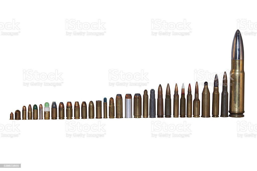 various types and calibers of ammunition stock photo