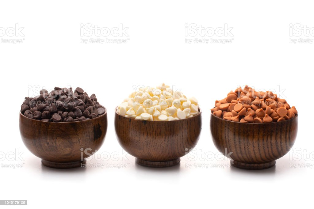 Various Types and Flavors of Baking Chips Perfect for Holiday Baking stock photo