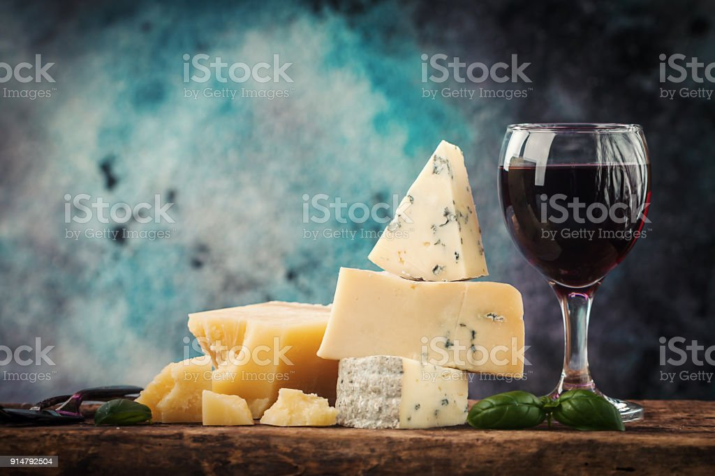 various types of cheese still life stock photo