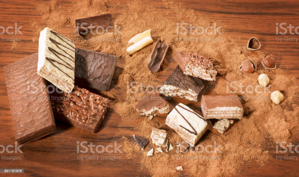 Various types of Chocolate Wafers stock photo